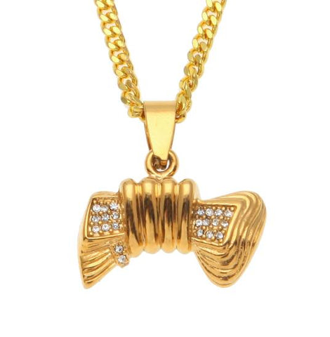 hip hop hand holding dollar iced out rhinestone pendant necklace