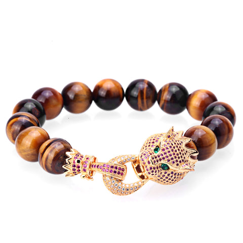 cool natural stone beads & golden leopard charm bracelet