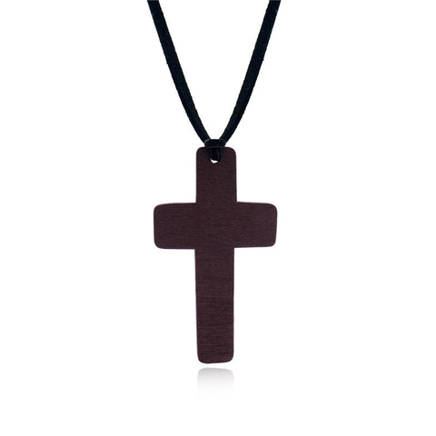 vintage handmade wooden jesus cross pendant necklace