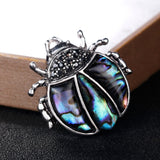 trendy natural shell ladybug beetle shape brooch pin jewelry