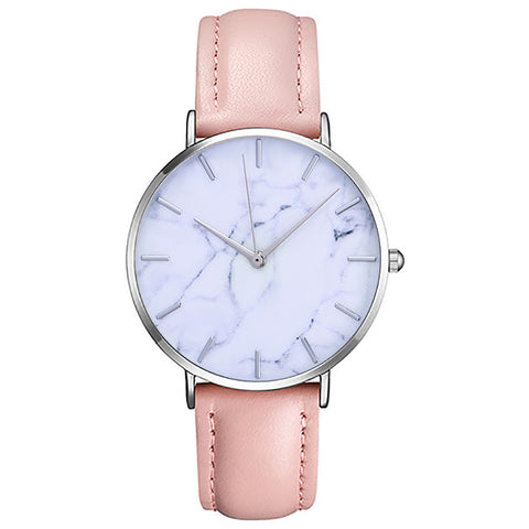 trendy marble pattern leather strap analog wrist watch for women