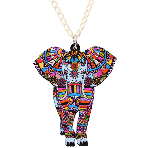 colorful acrylic elephant pendant chain necklace for women