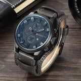sport style leather strap quartz wrist watch for men
