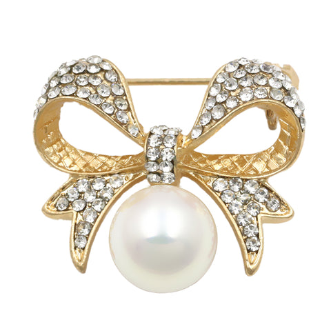 trendy crystal & simulated pearl bow brooch pin for women