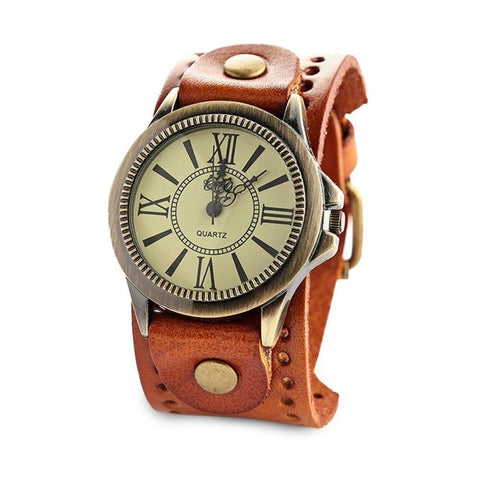 punk style roman scale dial wide leather cuff wrist watch for men