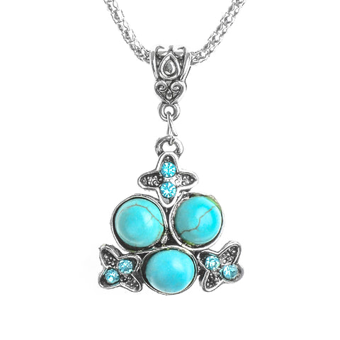 vintage crystal & natural stone pendant necklace for women