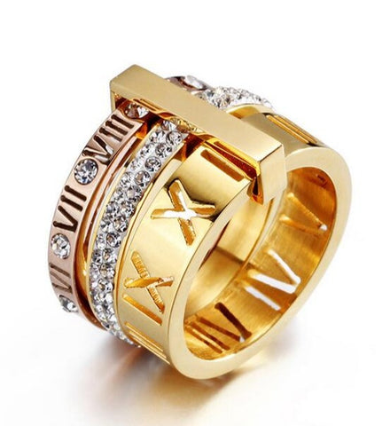 trendy three layers zircon & stainless steel ring for women