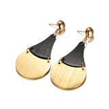 trendy gold color sector drop earrings for women