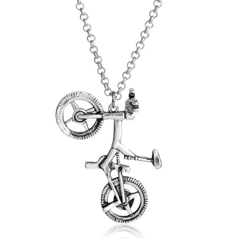 cute silver color metal bicycle shape pendant necklace