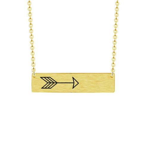 trendy arrow on stainless steel bar pendant necklace