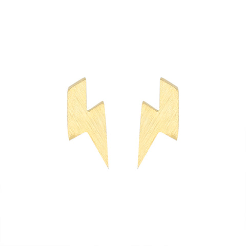 minimalist stainless steel tiny lightning bolt stud earrings