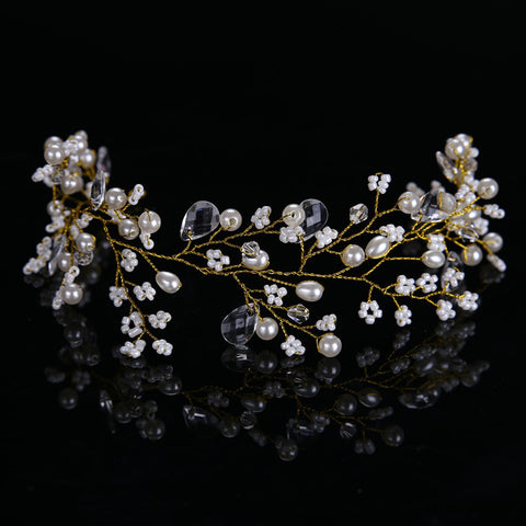 elegant simulated pearl golden hair band tiara crown for women