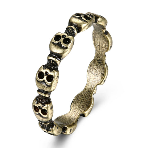 cool unique skull shape bronze color stainless steel ring