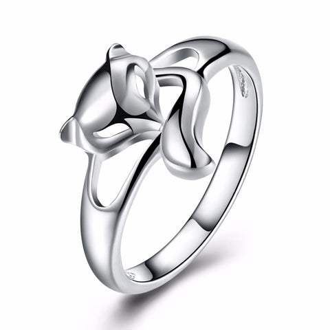 trendy silver plated fire fox shape ring for women