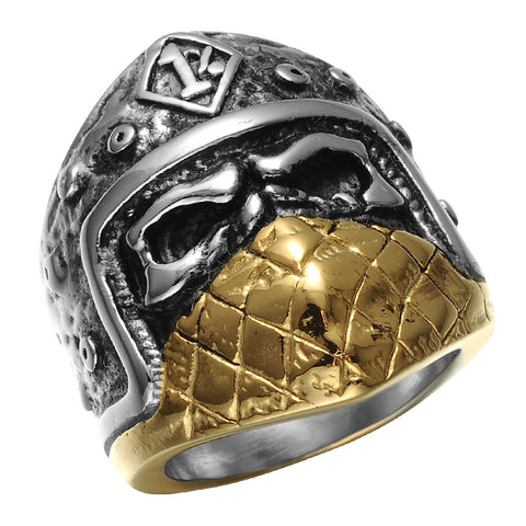 cool silver & gold stainless steel helmet ring for men