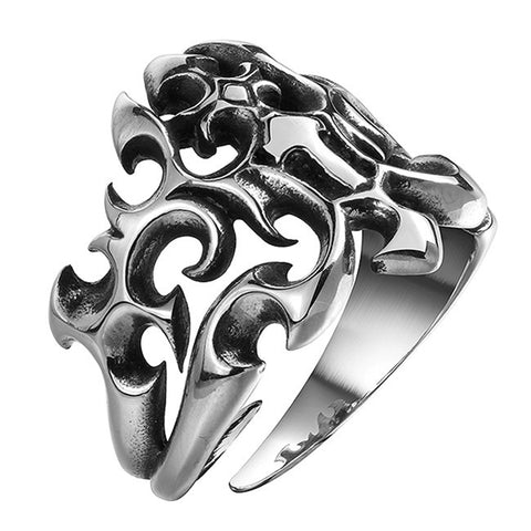cool silver color stainless steel tribal ring for men