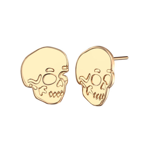 punk style tiny stainless steel skull shape stud earrings