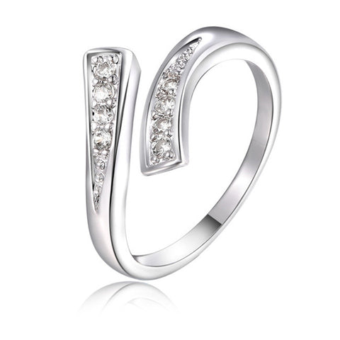 elegant silver color cz crystal open ring for women