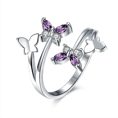 elegant cz crystal butterfly shape open ring for women