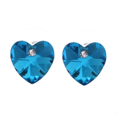 romantic austrian crystal heart stud earrings for women
