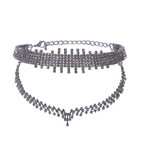 luxury double layers crystal choker necklace for women