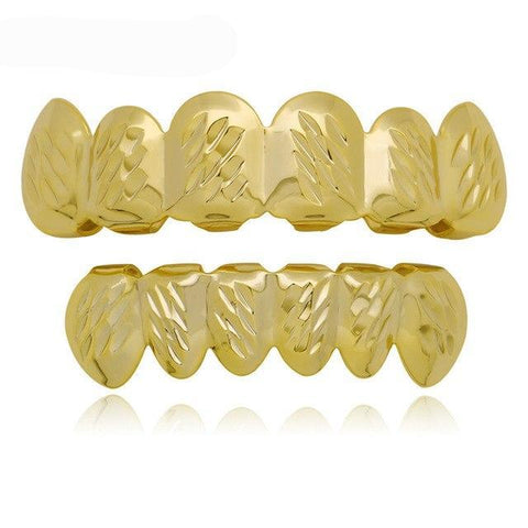 hip hop style carved stripes golden teeth grillz jewelry