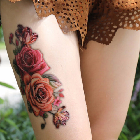 3d rose flowers pattern temporary tattoo sticker