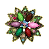 colorful resin stones & crystal flower brooch pin for women