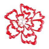 trendy hollow red flower freshwater pearl brooch pin for women