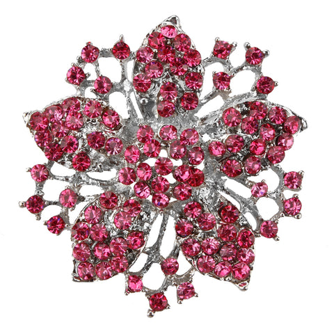 romantic crystal rhinestone hollow flower brooch pin for women