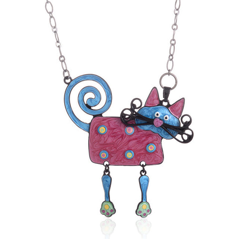 cute colorful enamel cat necklace & pendant for women