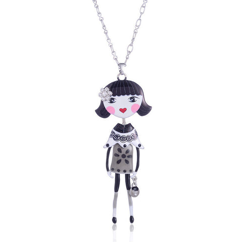 cute girl doll chain necklace & pendant for women