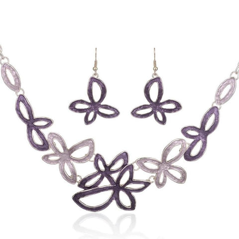 trendy hollow enamel flowers design jewelry set for women