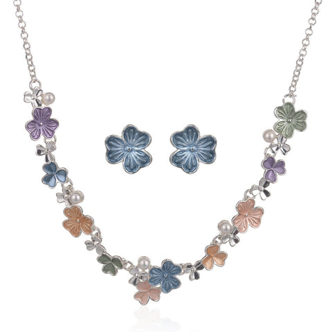 romantic enamel flower shape statement jewelry set for women