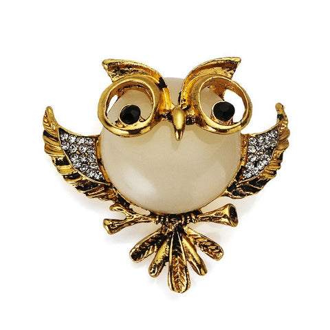 trendy owl with glasses crystal brooch pin for women