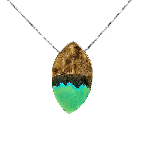 treny handmade oval shape resin & wood pendant necklace