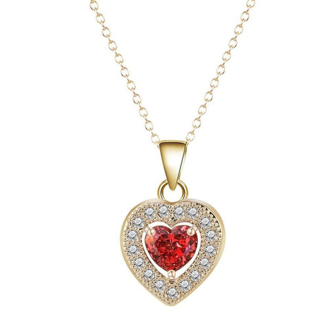 romantic gold color zircon heart pendant necklace for women