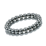 trendy natural stone hematite beads stretch bracelet for men