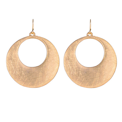 trendy gold/silver pleated hollow circle drop earrings for women