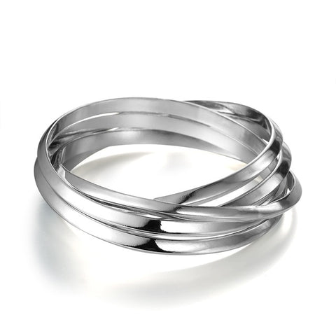 punk 5 pcs multilayer metal cuff bracelet for women