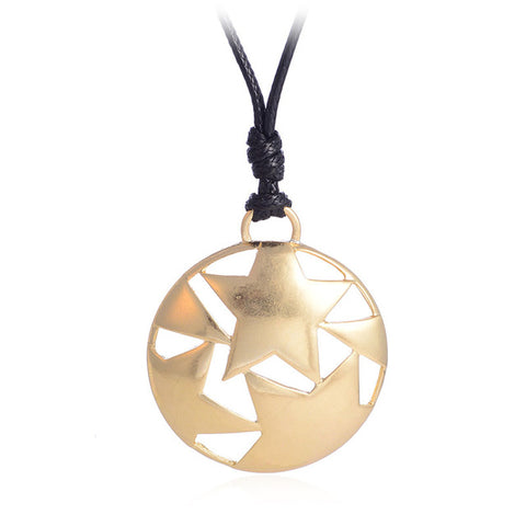 punk hollow star round pendant necklace for women