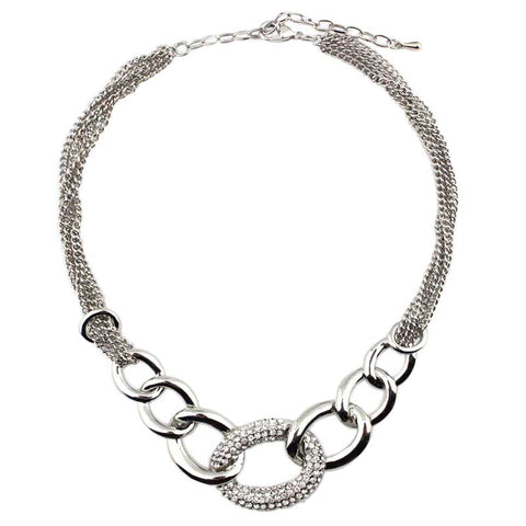 elegant chunky crystal chain statement necklace for women
