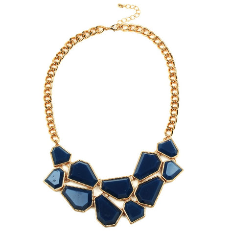 elegant royal blue acrylic tassel statement necklace for women