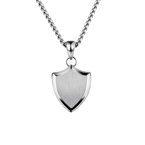 titanium steel shield shape pendant necklace for men