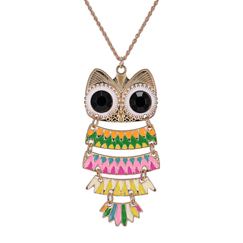 vintage cute owl shape pendant necklace for women