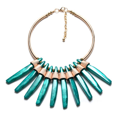 ethnic marble peacock choker statement necklace for women