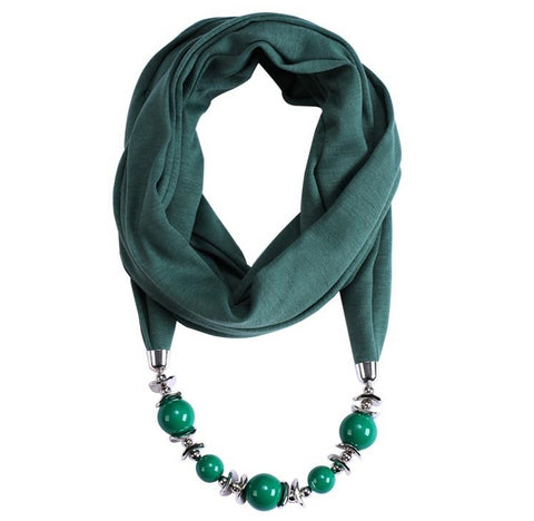 trendy beads tassel wrap scarf statement necklace for women