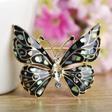 colorful enamel abalone shell & crystal butterfly brooch for women
