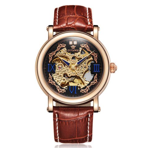 luxury automatic mechanical hollow leather band watch for men