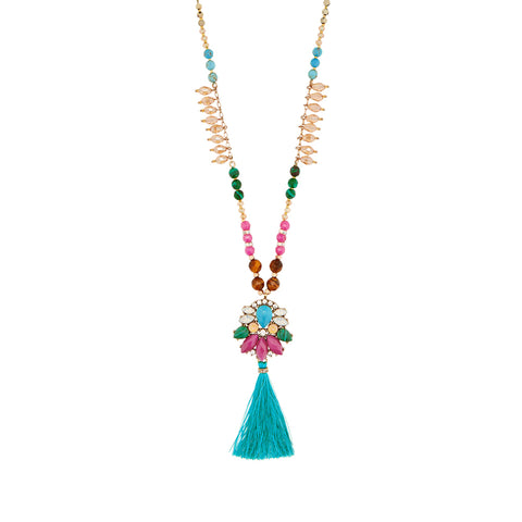 ethnic colorful stone beads tassel pendant necklace for women